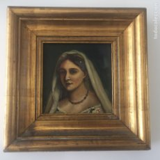 Arte - Antiguo retrato,óleo sobre tabla firmado Tonia.marco 22x22cm sin marco 12x12cm - 151820601