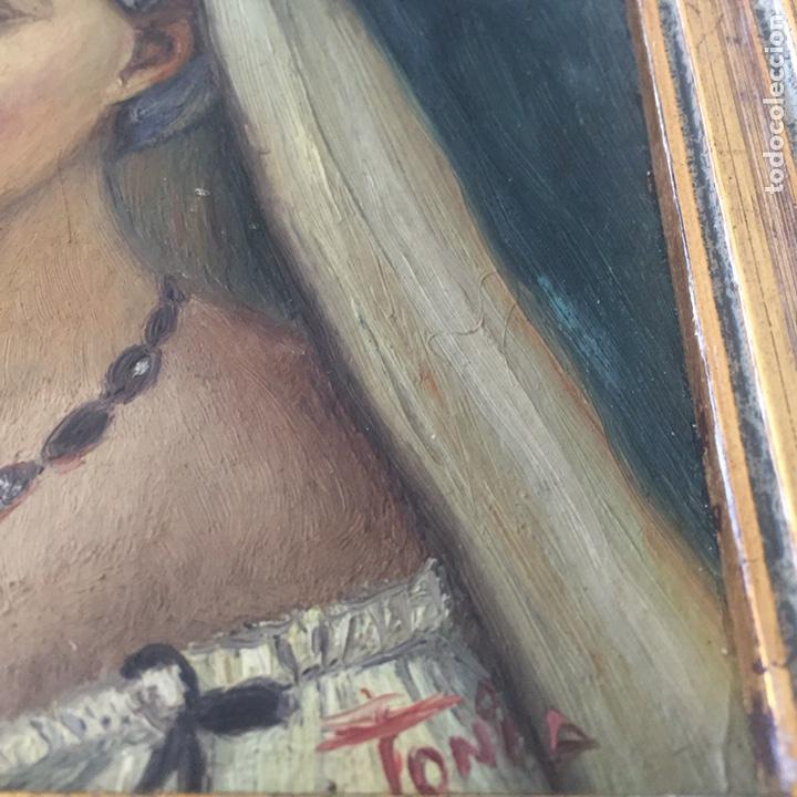 Arte: Antiguo retrato,óleo sobre tabla firmado Tonia.marco 22x22cm sin marco 12x12cm - Foto 2 - 151820601