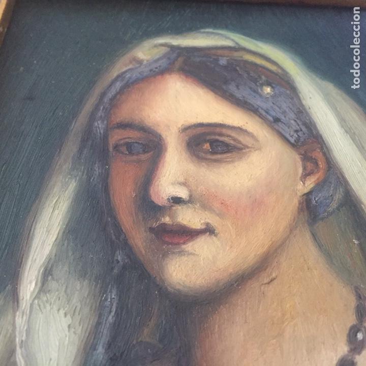Arte: Antiguo retrato,óleo sobre tabla firmado Tonia.marco 22x22cm sin marco 12x12cm - Foto 3 - 151820601
