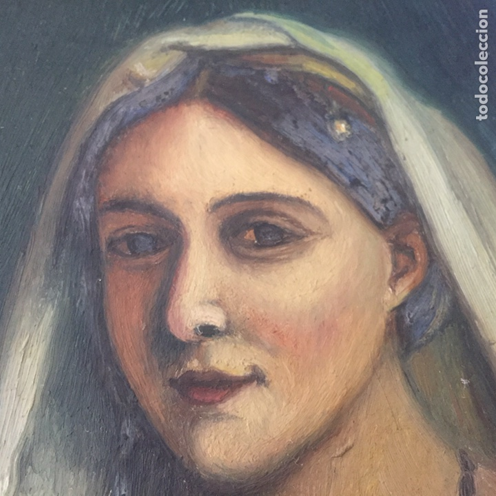 Arte: Antiguo retrato,óleo sobre tabla firmado Tonia.marco 22x22cm sin marco 12x12cm - Foto 5 - 151820601