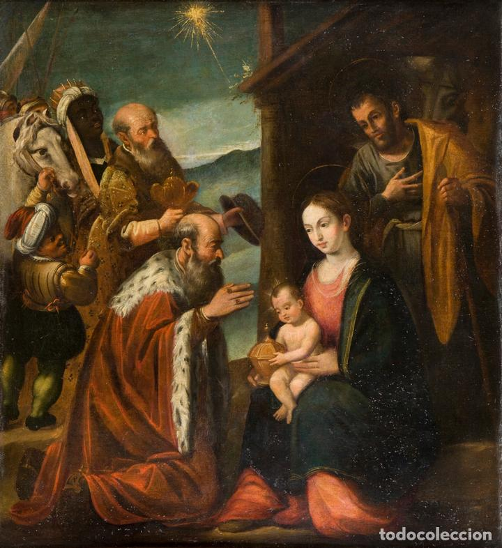 ESCUELA ESPAÑOLA SIGLO XVII - EPIFANÍA (Arte - Pintura - Pintura al Óleo Antigua siglo XVII)