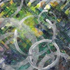 Arte: DELIRIUM-ABSTRACT ACRYLIC AND OIL ART 11.5X15 CM. Lote 151911254