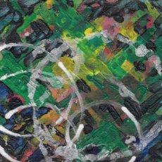 Arte: DELIRIUM-ABSTRACT ACRYLIC AND OIL ART 11.5X15 CM. Lote 151911358