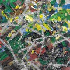 Arte: DELIRIUM-ABSTRACT ACRYLIC AND OIL ART 11.5X15 CM. Lote 151911370