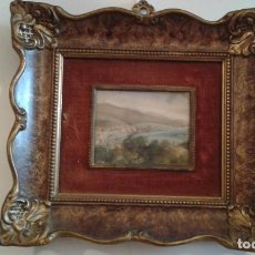 Arte: STUNNING EARLY VICTORIAN MINIATURE PAINTING WITH ORNATE GILTED FRAME LANDSCAPE BAY. Lote 151969618