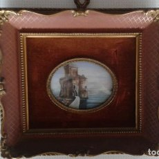 Arte: STUNNING MINIATURE PAINTING WITH HIGHLY ORNATE FRAME SCOTTISH KEEP OR CASTLE SIGNED. Lote 151970570