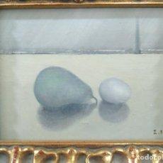Arte: PERA Y HUEVO. JOSE PEDRO ESPAÑA SUAREZ. ÓLEO SOBRE TABLA.. Lote 152030846