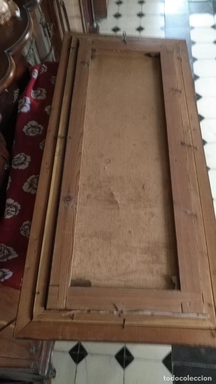 Arte: gran lienzo oleo CISNE enmarcado marco madera y contramarco pan de oro fino firmado 1909 sofia ruiz - Foto 5 - 152136418