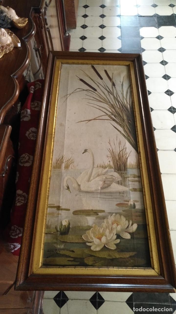 Arte: gran lienzo oleo CISNE enmarcado marco madera y contramarco pan de oro fino firmado 1909 sofia ruiz - Foto 7 - 152136418