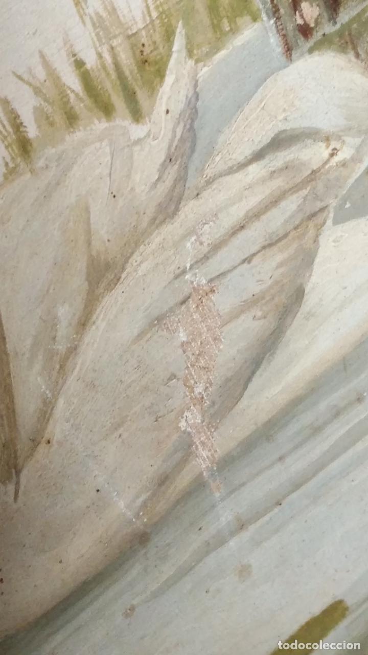 Arte: gran lienzo oleo CISNE enmarcado marco madera y contramarco pan de oro fino firmado 1909 sofia ruiz - Foto 14 - 152136418