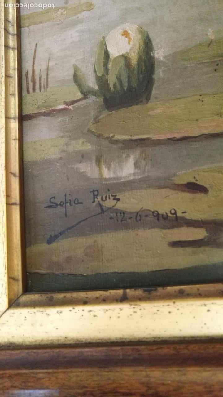 Arte: gran lienzo oleo CISNE enmarcado marco madera y contramarco pan de oro fino firmado 1909 sofia ruiz - Foto 20 - 152136418