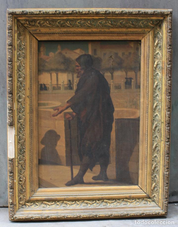 MENDIGO, PINTURA AL ÓLEO SOBRE TELA, SIGLO XIX, SIN FIRMAR. 64,5X49,5CM (Arte - Pintura - Pintura al Óleo Moderna siglo XIX)