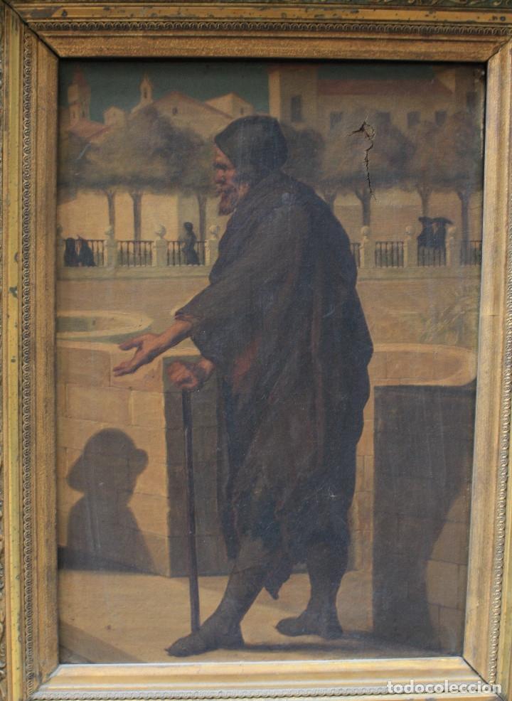 Arte: Mendigo, pintura al óleo sobre tela, siglo XIX, sin firmar. 64,5x49,5cm - Foto 2 - 152146718