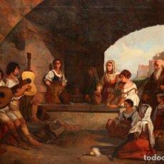 Arte: ESCUELA ITALIANA DEL SIGLO XIX. OLEO SOBRE TELA DE AUTOR ANONIMO. VIA ROMANA. Lote 152163554