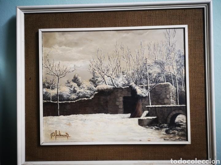 OLEO SOBRE TABLA, VISTA NEVADA, PAISAJE CON NIEVE, FIRMADO FONTESECA, MEDIDAS TOTALES 56X47CM (Arte - Pintura - Pintura al Óleo Contemporánea )