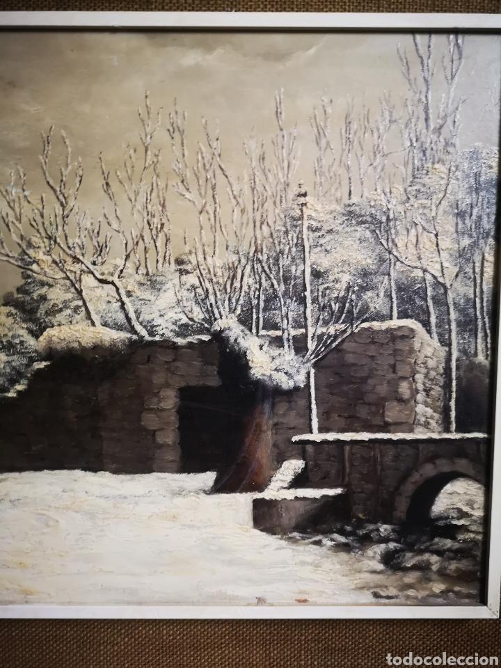 Arte: OLEO SOBRE TABLA, VISTA NEVADA, PAISAJE CON NIEVE, FIRMADO FONTESECA, MEDIDAS TOTALES 56X47cm - Foto 2 - 152211918