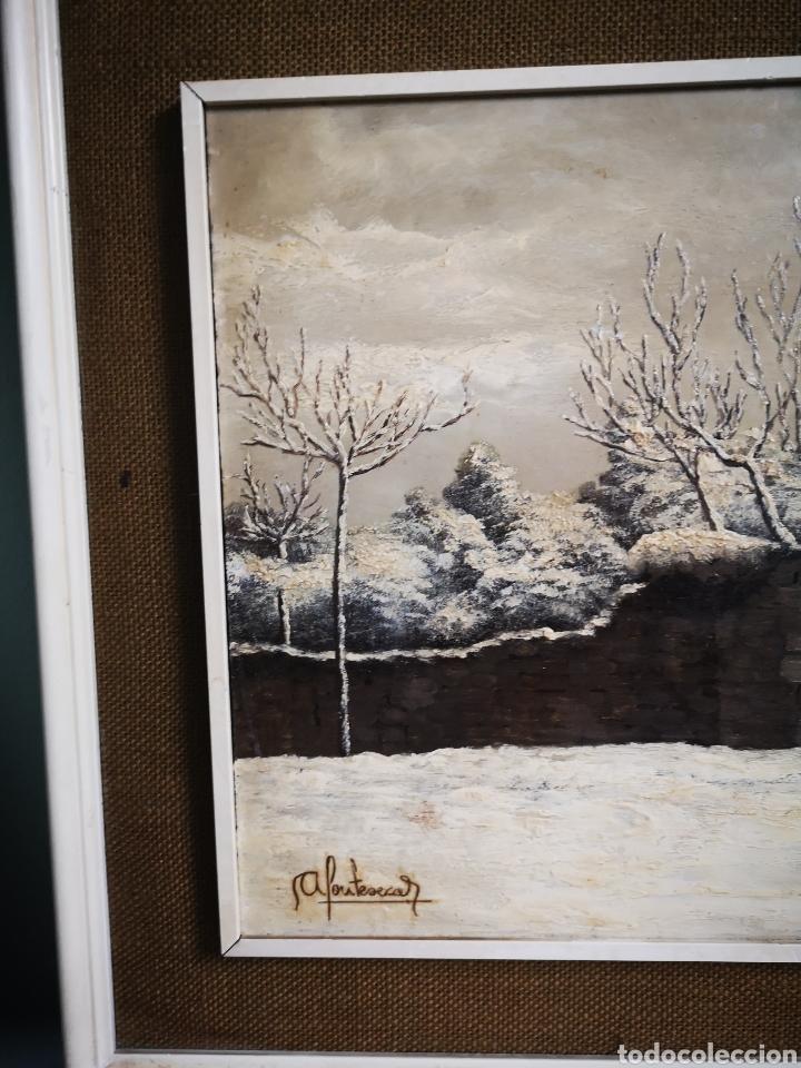 Arte: OLEO SOBRE TABLA, VISTA NEVADA, PAISAJE CON NIEVE, FIRMADO FONTESECA, MEDIDAS TOTALES 56X47cm - Foto 3 - 152211918