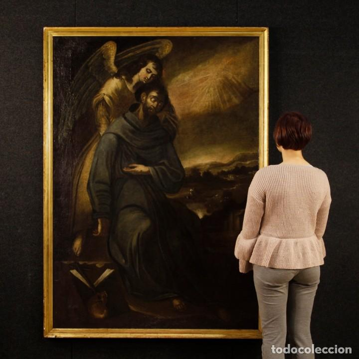 Arte: Pintura al óleo sobre lienzo con San Francisco del siglo XVII - Foto 2 - 152220886