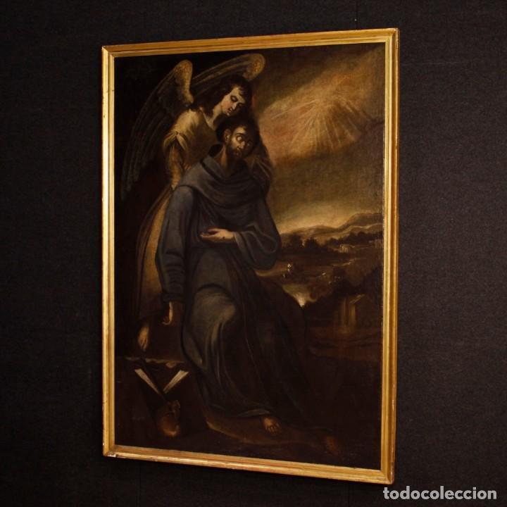 Arte: Pintura al óleo sobre lienzo con San Francisco del siglo XVII - Foto 5 - 152220886