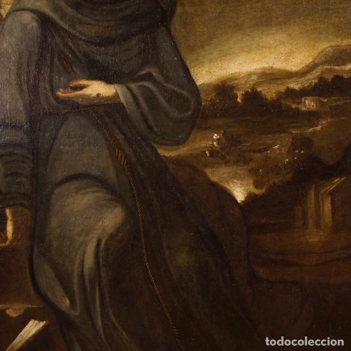 Arte: Pintura al óleo sobre lienzo con San Francisco del siglo XVII - Foto 6 - 152220886