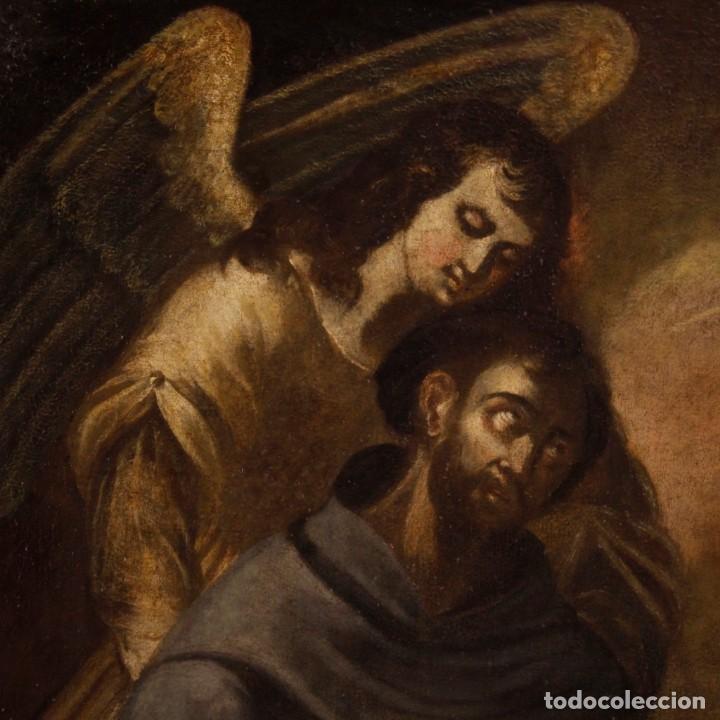 Arte: Pintura al óleo sobre lienzo con San Francisco del siglo XVII - Foto 8 - 152220886