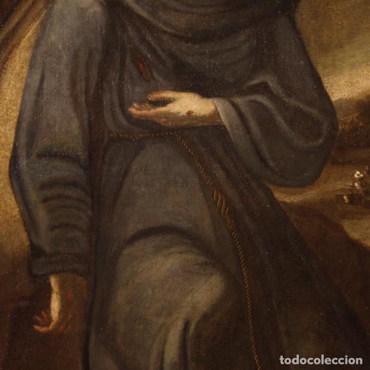 Arte: Pintura al óleo sobre lienzo con San Francisco del siglo XVII - Foto 9 - 152220886