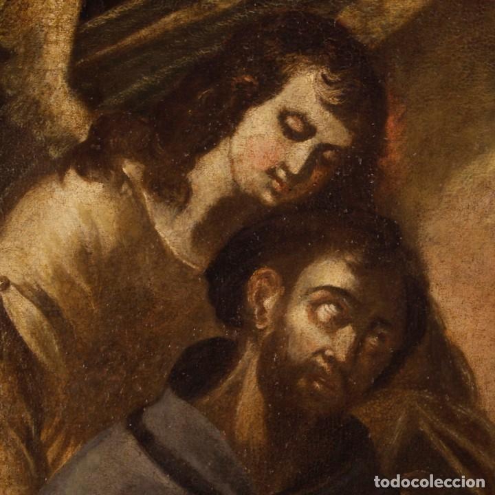 Arte: Pintura al óleo sobre lienzo con San Francisco del siglo XVII - Foto 10 - 152220886