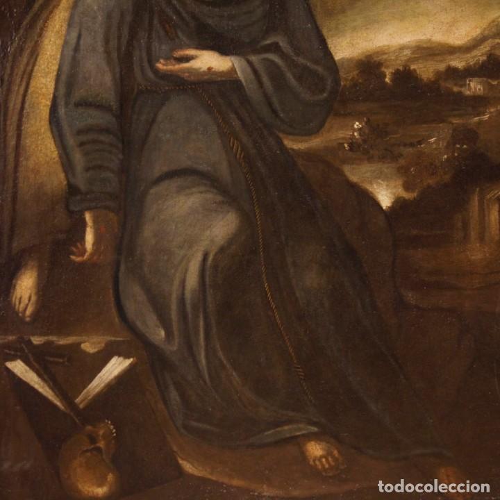 Arte: Pintura al óleo sobre lienzo con San Francisco del siglo XVII - Foto 11 - 152220886