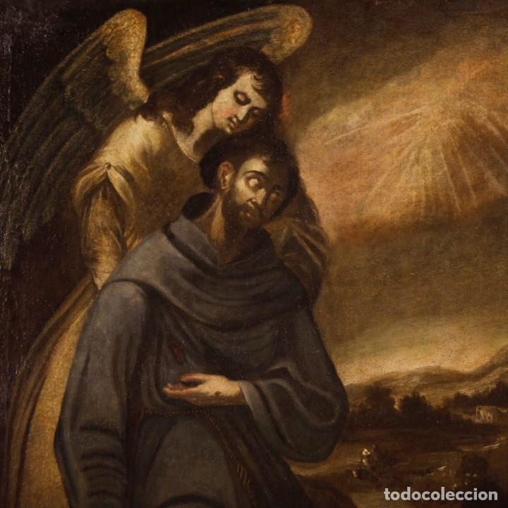 Arte: Pintura al óleo sobre lienzo con San Francisco del siglo XVII - Foto 12 - 152220886