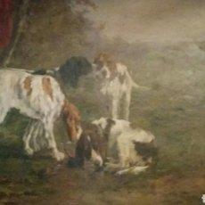 """Arte: MARIE DIDIERE CALVÉS (1883- 1957), """"PERROS"""", ÓLEO SOBRE LIENZO, FIRMADO, 42 X 54 CM.. Lote 152256441"""