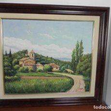Arte: OLEO SOBRE LIENZO ENMARCADO (CAMINO Y ALDEA) J. MARTÍ. Lote 152275714