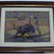 Arte: RAMON SANVISENS MARFULL, OLEO SOBRE TABLA FIRMADO CORRIDO TOROS. Lote 152291014