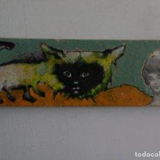 Arte: GATO. ACRILICO Y COLLAGE SOBRE CARTON. Lote 152369626