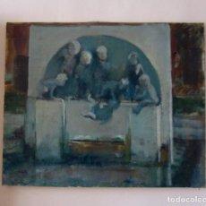 Arte: BELLA PINTURA. LA FUENTE DE LOS NIÑOS DE MARIANO BENLLIURE, VALENCIA. FIRMADO. ÓLEO SOBRE LIENZO. Lote 152403058