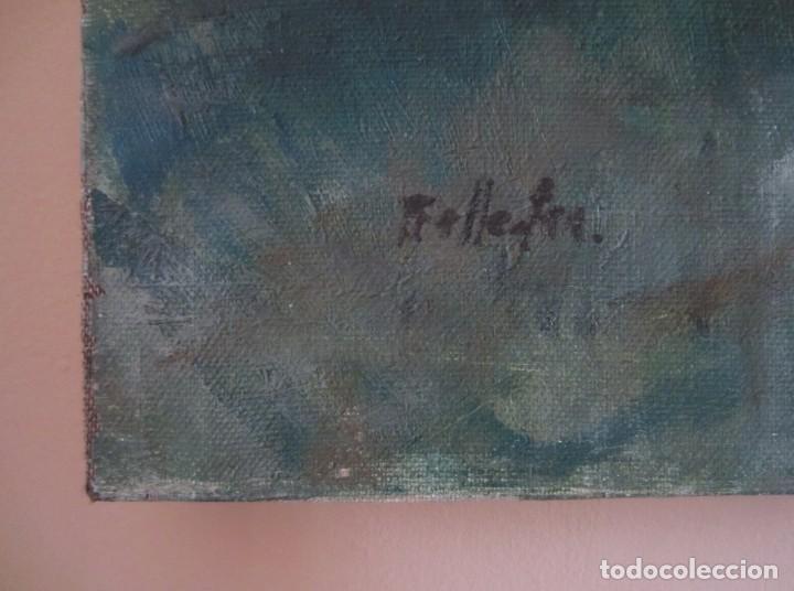 Arte: Bella pintura. La Fuente de los Niños de Mariano Benlliure, Valencia. Firmado. Óleo sobre lienzo - Foto 2 - 152403058