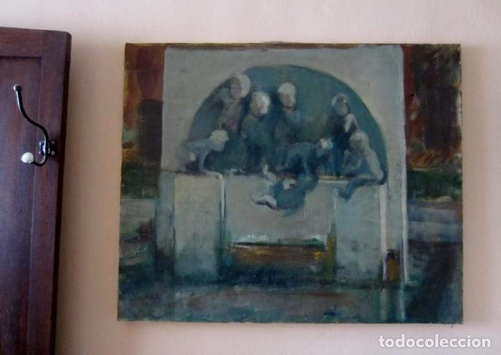 Arte: Bella pintura. La Fuente de los Niños de Mariano Benlliure, Valencia. Firmado. Óleo sobre lienzo - Foto 6 - 152403058