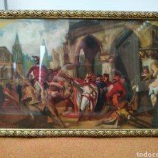 Arte: ESCENA ÓLEO COMPOSICIÓN AÑO 1907, MODERNISTA, ESCENA HISTÓRICA, ART NOUVEAU, CABALLERÍA, HISTORICISM. Lote 152413309