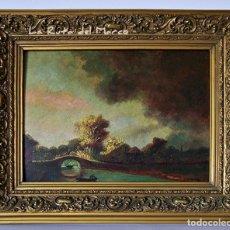 Arte: A. GOMAR - PAISAJE CON PUENTE DE PIEDRA - CUADRO ENMARCADO AL ÓLEO.. Lote 126350571