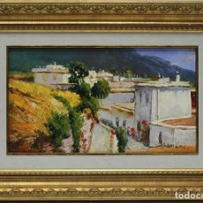 Arte: CALLE DE PUEBLO - LUCAS - OLEO SOBRE LIENZO - 49X35 CM. Lote 152433236
