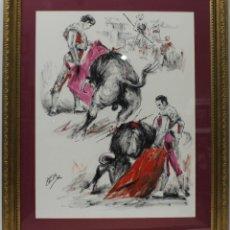 Arte: TOREROS - LÓPEZ CANITO - ACRÍLICO SOBRE CARTULINA - 82X68 CM. Lote 152433348