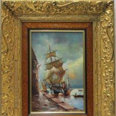 Arte: EL BUQUE - H. VONK - OLEO SOBRE LIENZO - 55X44 CM. Lote 152433404