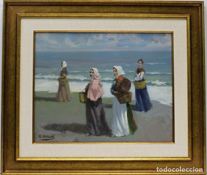 PESCADORAS - ESCUELA SOROLLA - OLEO SOBRE LIENZO - 59X51 CM (Arte - Pintura - Pintura al Óleo Contemporánea )