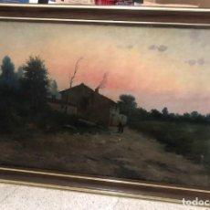 Arte: CUADRO OLEO MODEST URGELL I ANGLADA - PAISAJE RURAL CON DOS PERSONAJES - ORIGINAL - 100 X 61,5 CM. Lote 152478530