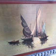 Arte: ANTIGUO LIENZO SOBRE TABLA FIRMADO. Lote 152491064