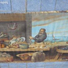 Arte: GRANDIOSA PINTURA TEMA BODEGON -MARINA DE 3 METROS DE LARGO. Lote 152527306