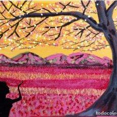 Arte: OLEO SOBRE LIENZO, PANDORA Y LAS AMAPOLAS.. Lote 152577834
