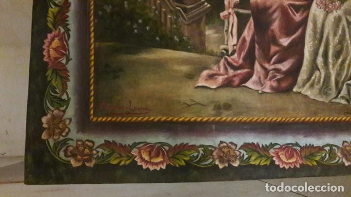 Arte: Antiguo cuadro Tapiz 155x205 firmado Ángeles Luna - Foto 8 - 152618434