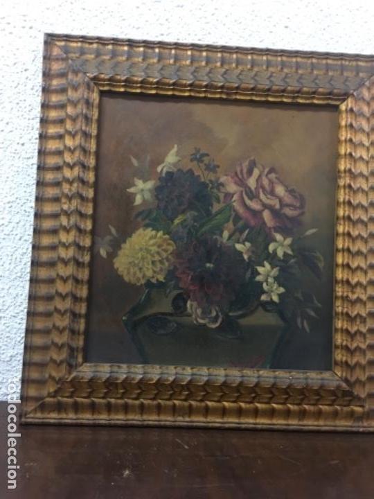 ANTIGUO CUADRO FLORES 44X46 CON MARCO 34X31 TABLEX (Arte - Pintura - Pintura al Óleo Antigua sin fecha definida)