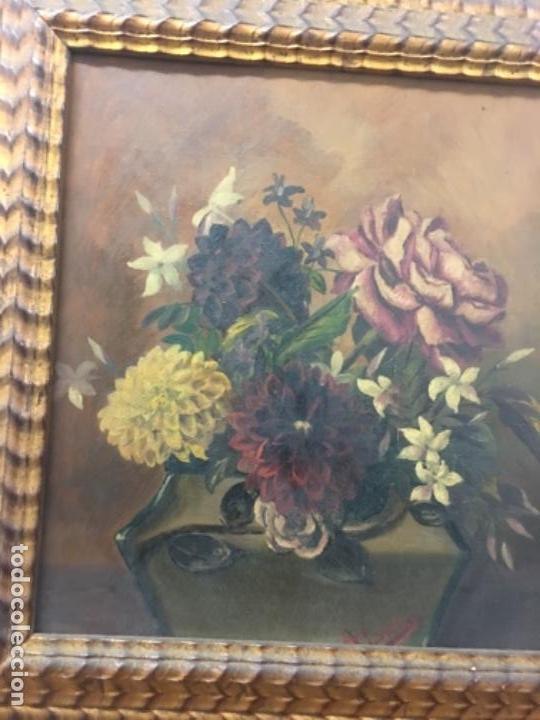Arte: Antiguo cuadro Flores 44x46 con marco 34x31 tablex - Foto 2 - 152629102