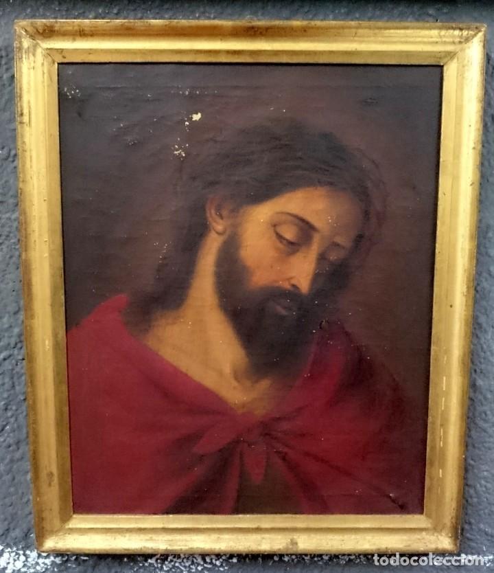 ANTIGUO ECCE HOMO, CRISTO, ÓLEO SOBRE LIENZO CON MARCO DORADO AL ORO FINO. SIGLO XVIII. 60X48 (Arte - Pintura - Pintura al Óleo Antigua siglo XVIII)